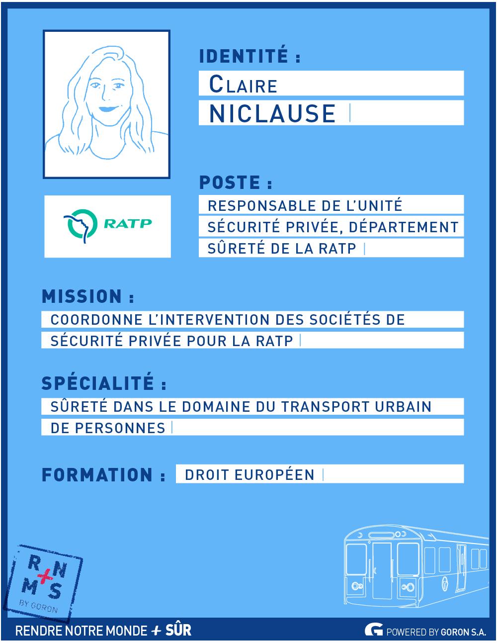 Portrait de décideurs : Claire Niclause, Responsable sécurité privée à la RATP – RNMPS
